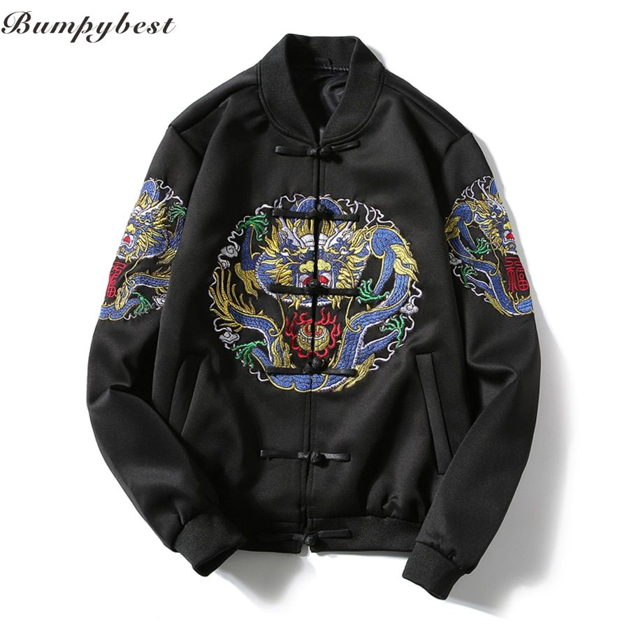 Ma1 Bomber Jacket Men Casual Jacket Coat Mens Jackets and Coats Chinese Style Qing Dynasty Embroidery Dragon Baseball Jacket