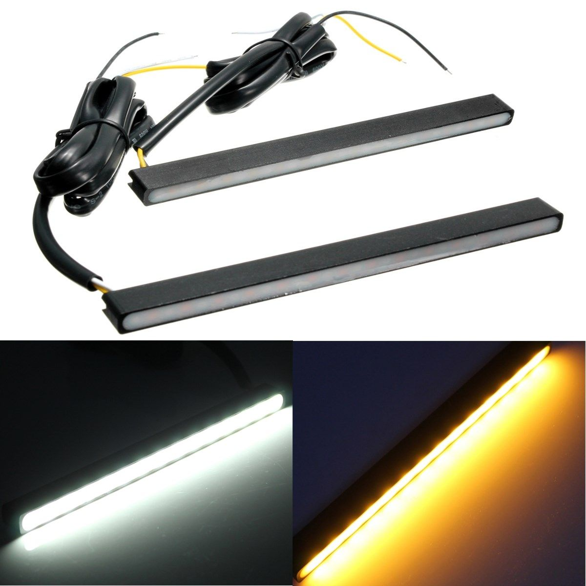 Audew 12V 2Pcs Universal 15LED Daytime Running Light DRL Turn Signal Indicator Light White & Amber