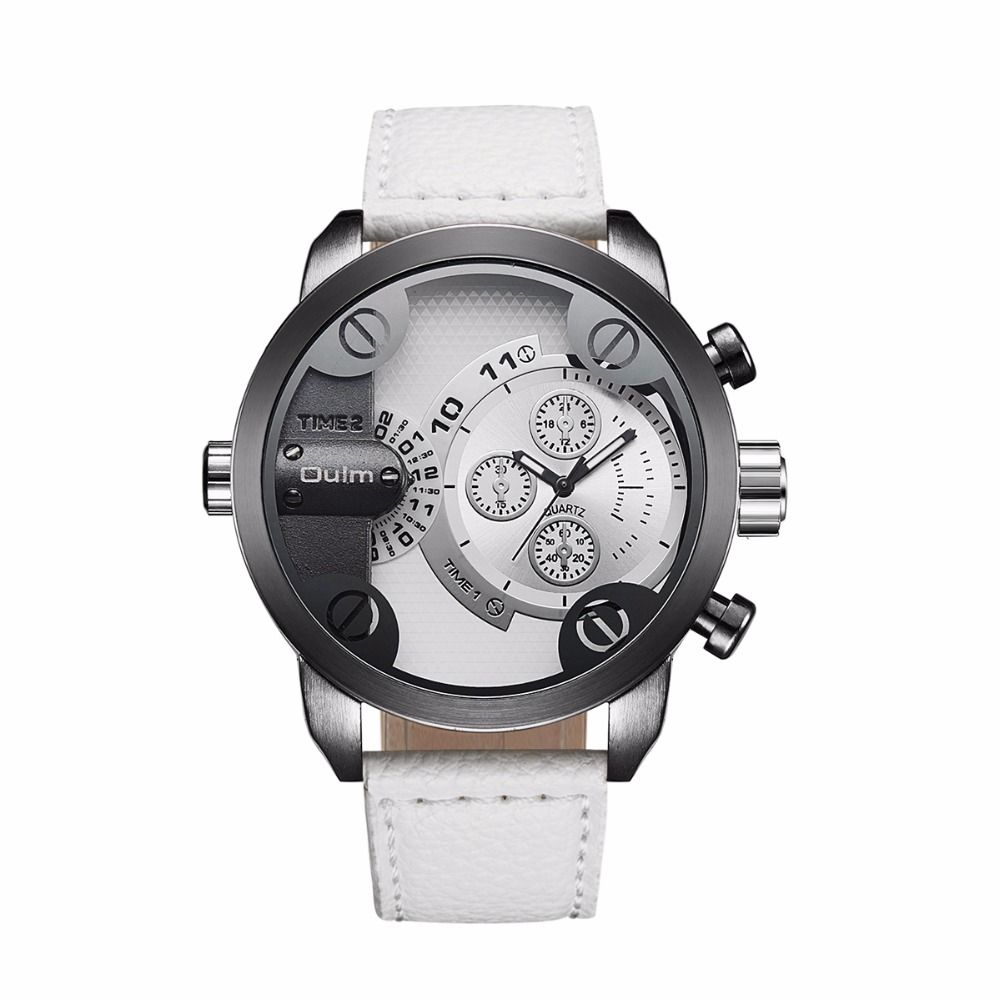 2018 New brand OULM colorful Leather Wristwatches Men Dual Time Zone Watches sport watch two times watch