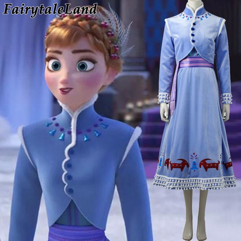 Olaf's Adventure Princess Anna Cosplay Costume Carnival Halloween Costume adult women Christmas Winter Velvet Anna Costume dress