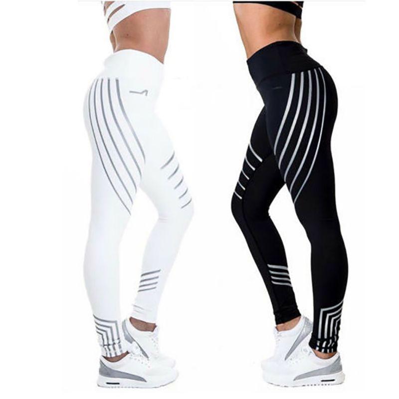 2018 Sport pantalon Fitness Leggings femmes Sport séchage rapide pantalons de course Leggins séchage rapide nuit brillant collants Leggings Fitness