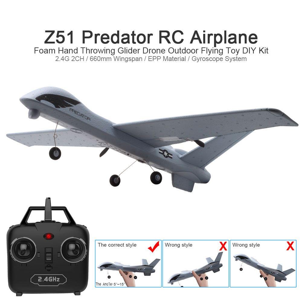 RC Avion Avion Z51 20 Minutes Fligt Temps Planeurs 2.4g Vol Modèle avec LED Main Lancer Envergure Mousse Plan jouets Enfants Cadeaux