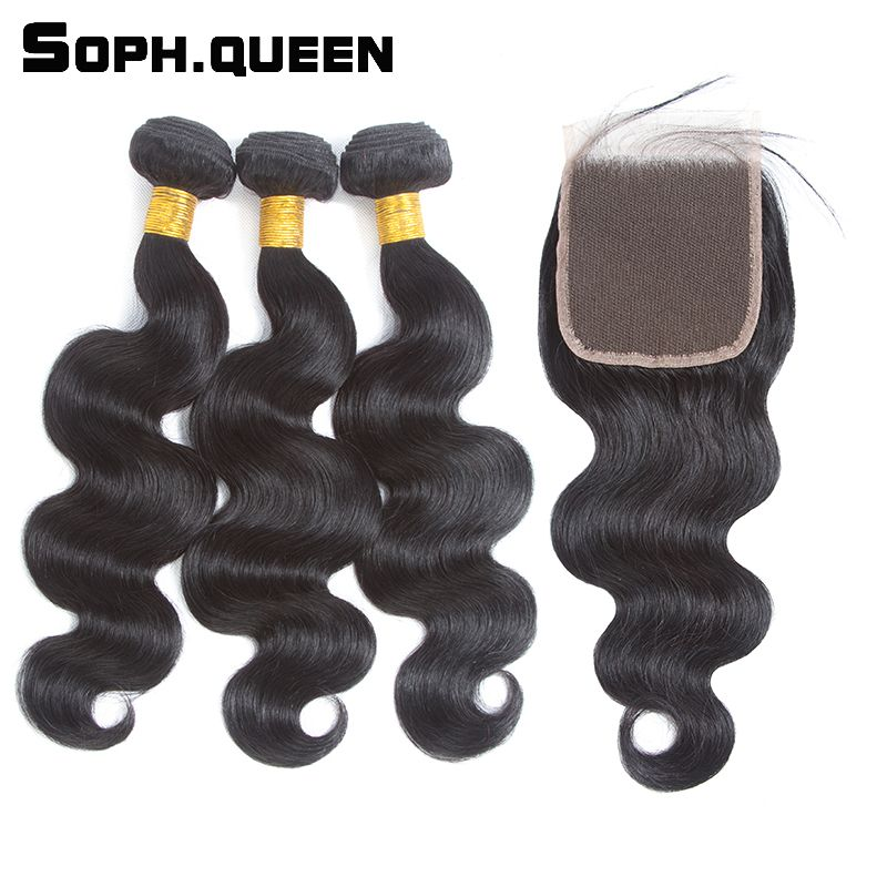 Soph queen Body Hair Wave Bundles With Closure Brazilian Non-Remy Human Hair With Closure Hair Extension Natural Black Pelo