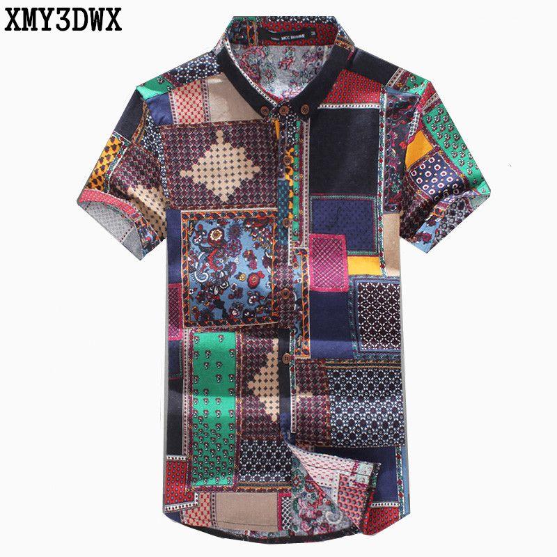 Nouveau 2018 été hommes de mode marque motif loisirs lin grands yards à manches courtes chemises/mâle National vent décontracté impression chemises