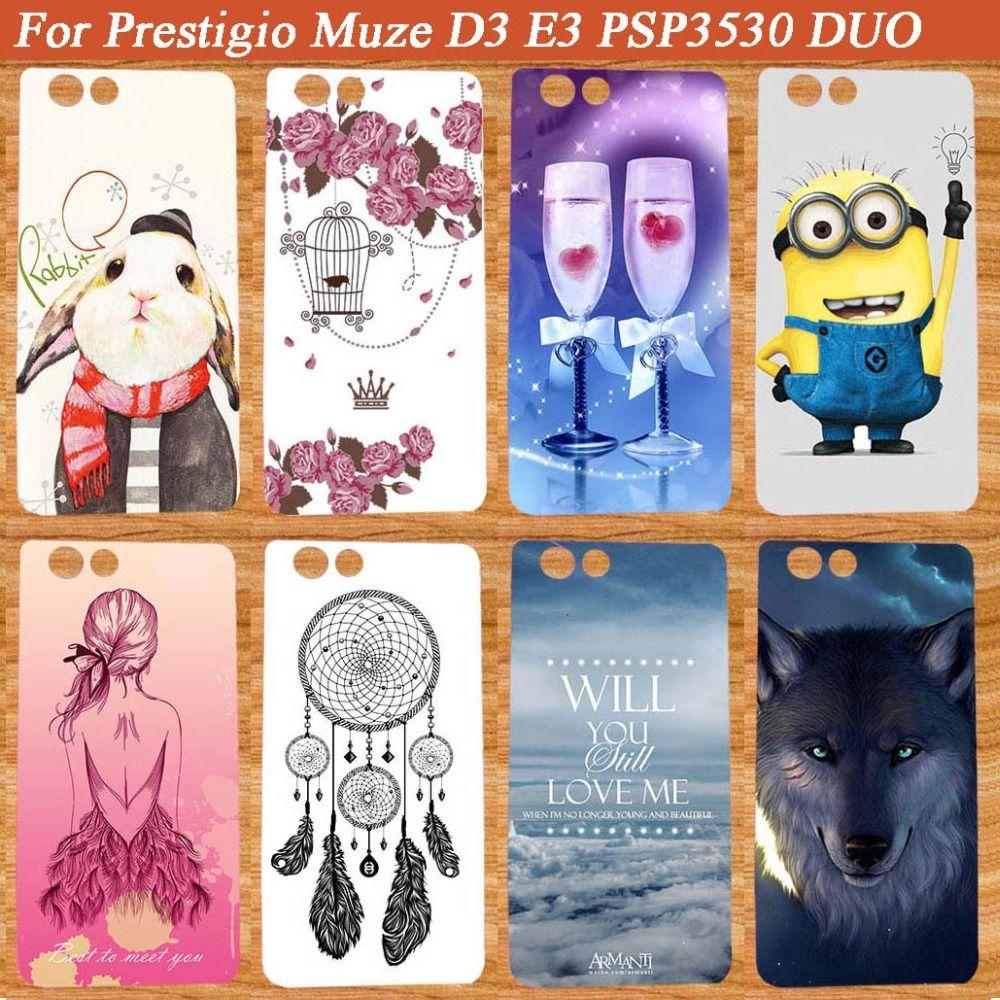 Pour Prestigio Muze D3 cas peint de mode nouveaux styles SOUPLE TPU étui En Silicone Pour Prestigio Muze D3 PSP3530 DUO 3530Duo