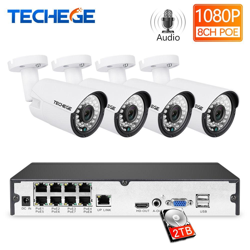 Techege 8CH 1080 P kit POE NVR 2MP 3000TVL caméra IP PoE P2P système de vidéosurveillance Audio IR Kit de Surveillance vidéo de Vision nocturne extérieure