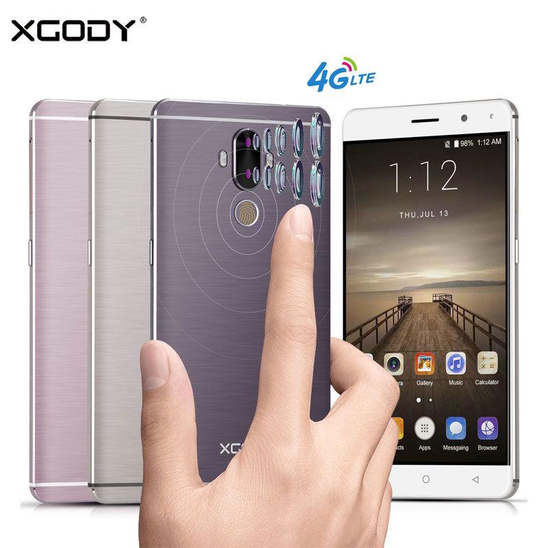 Débloqué Xgody Y19 4G Smartphone 6 Pouce Android 7.0 D'empreintes Digitales 2 GB RAM + 16 GB ROM Quad Core 2SIM 2900 mAh Batterie GPS Cellulaire téléphone