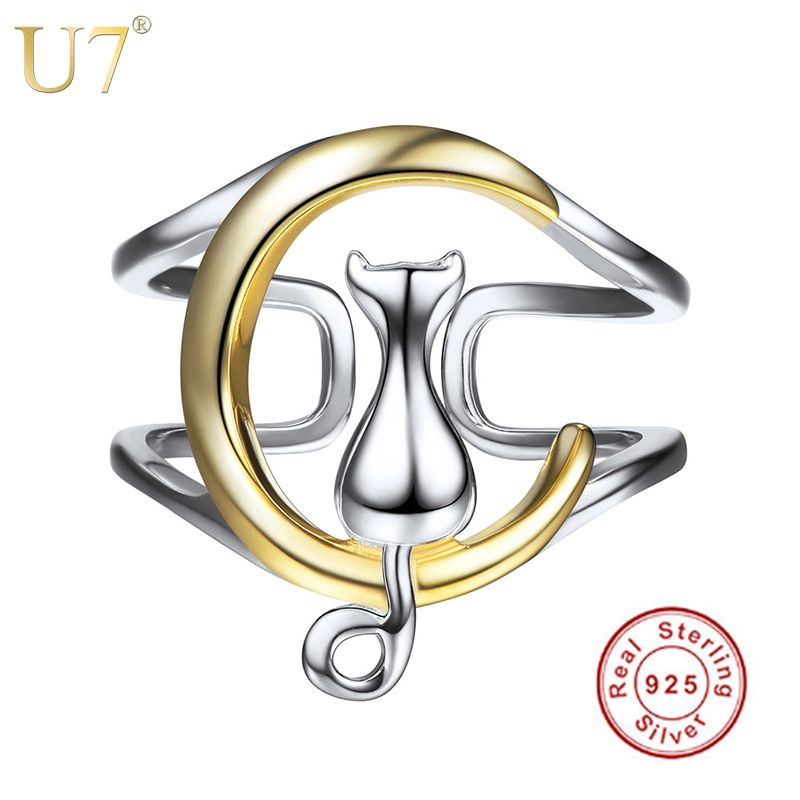 U7 925 Sterling Silver Rings Cat Sitting on The Moon Women <font><b>Gift</b></font> Finger Ring Adjustable Animal Cat Sterling Silver Jewelry SC08