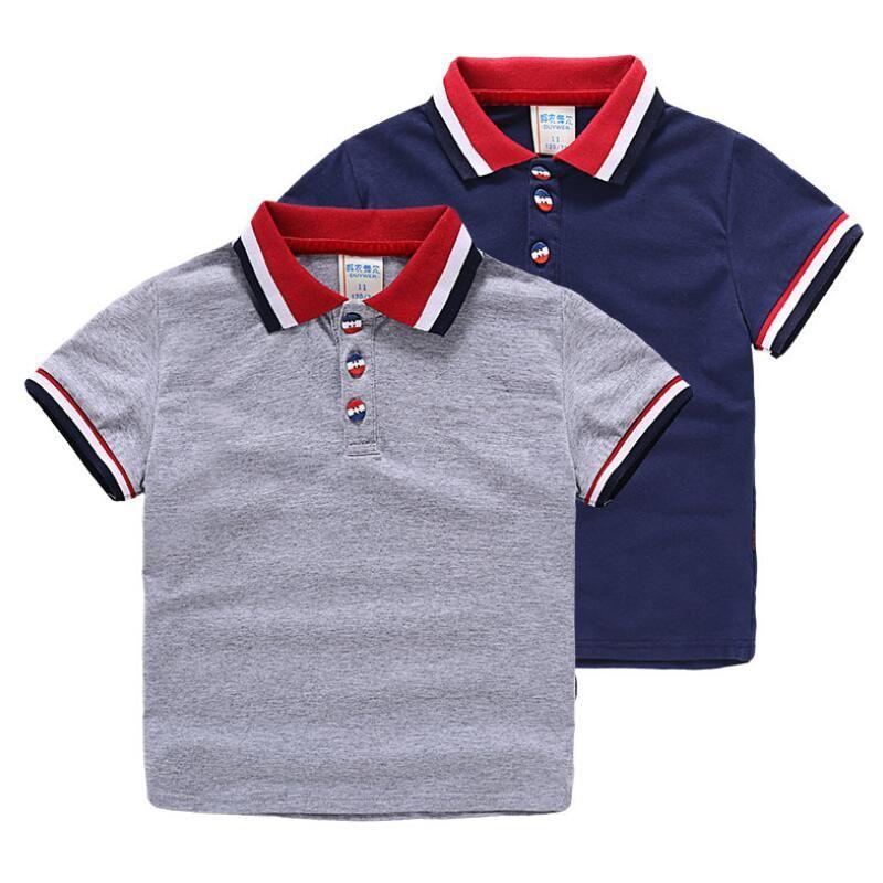 Verano de Los Muchachos de Polo de Manga Corta Camisetas Bebé Tops de estilo Clásico Británico T Camisa Ropa de los Muchachos Niños Camisas de Polo Camisa de Algodón Bebé