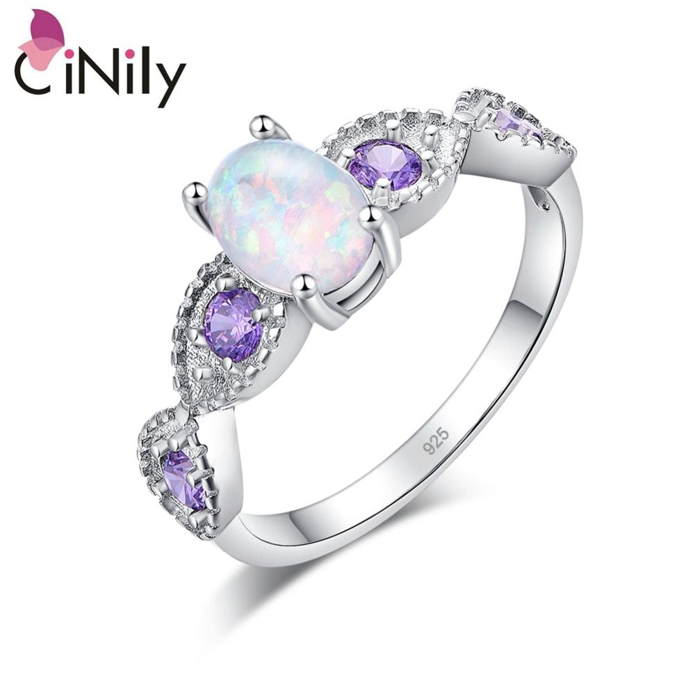 CiNily White Fire Opal Oval Stone Rings Silver Plated Lilac Purple Zirconia Crystal Engagement Wedding Fully-jewelled BOHO Woman