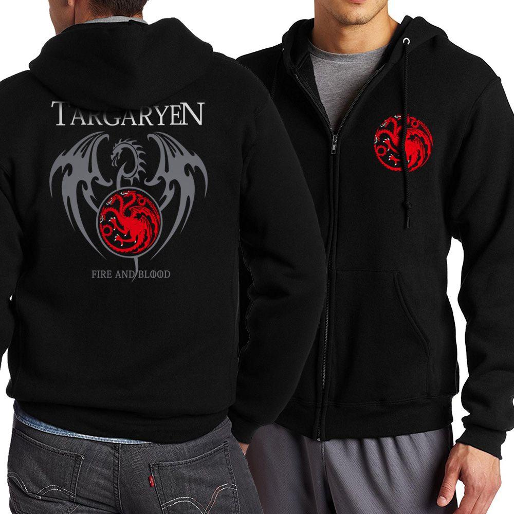 New Game of Thrones Targaryen Fire & Blood Men Hoodie 2018 Spring Autumn Sweatshirt Zip Up Hoodie Men Tracksuits Harajuku Hoody