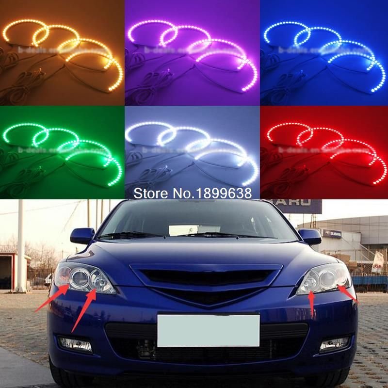 Super bright 7 color RGB LED Angel Eyes Kit with a remote control car styling For Mazda 3 mazda3 2002 - 2007