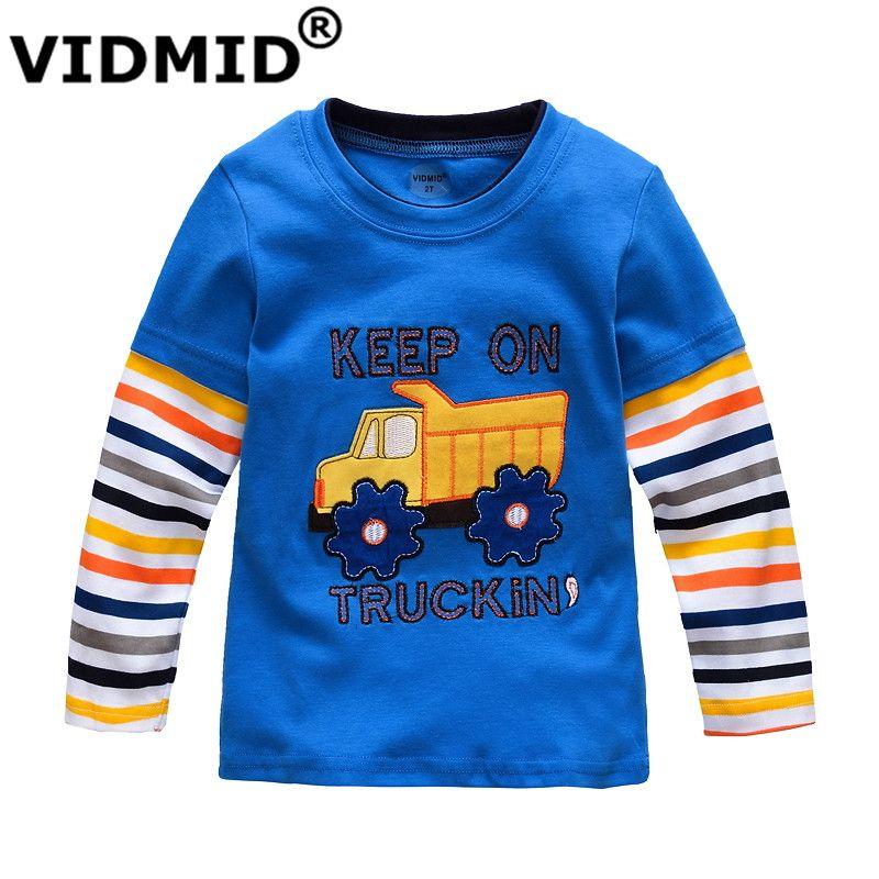 VIDMID garçons T-shirt enfants t-shirts bébé garçon marque t-shirts enfants blouses à manches longues 100% coton voitures camions rayures livraison gratuite