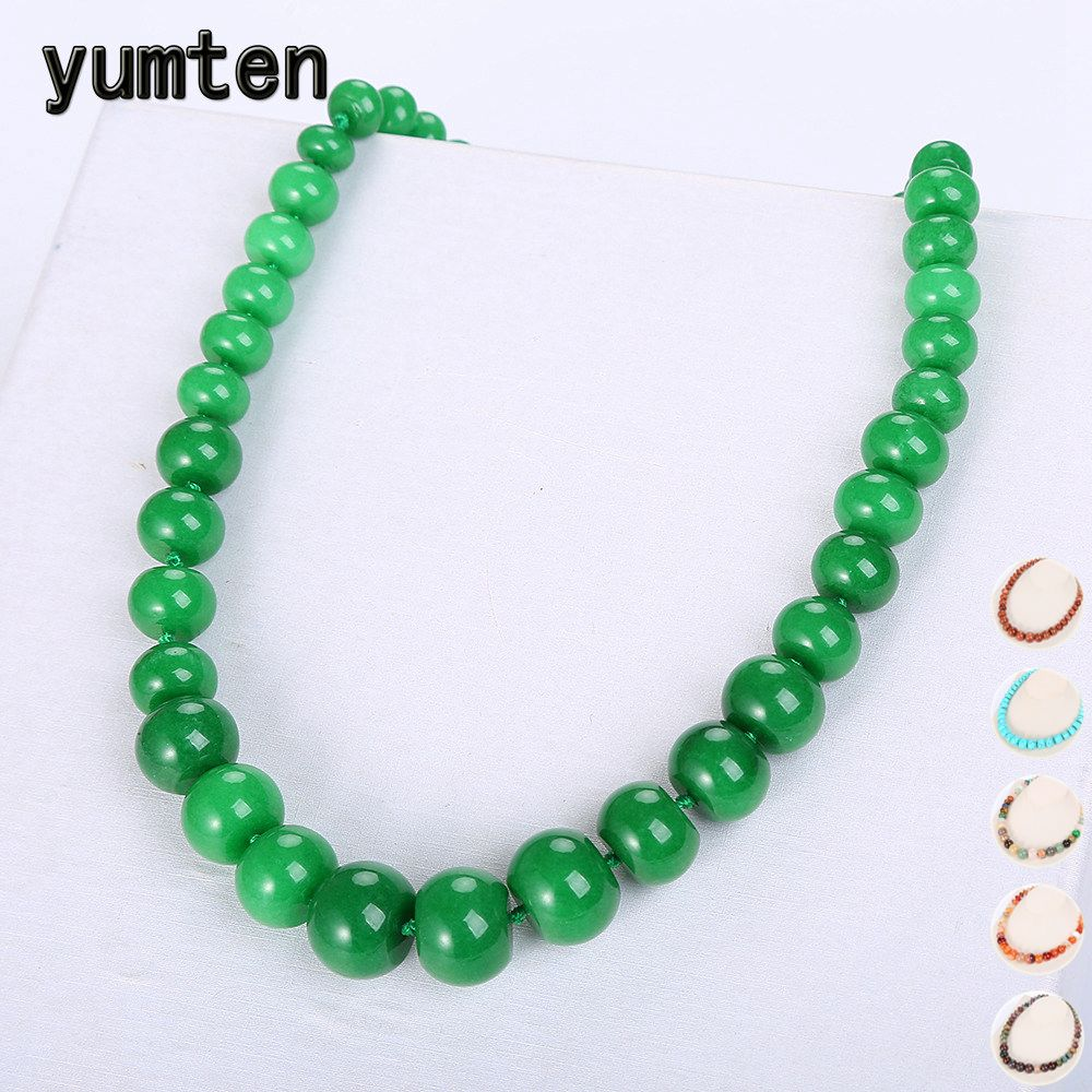 Yumten Green Jasper Necklace Beads Women Statement Jewelry Natural Stone Accessories Vintage Crystal Chain Men Ethnic Choker