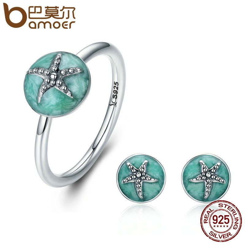 BAMOER Authentic 925 Sterling Silver Dazzling Starfish Finger Ring & Earrings Jewelry Sets Luxury Sterling Silver Jewelry Gift