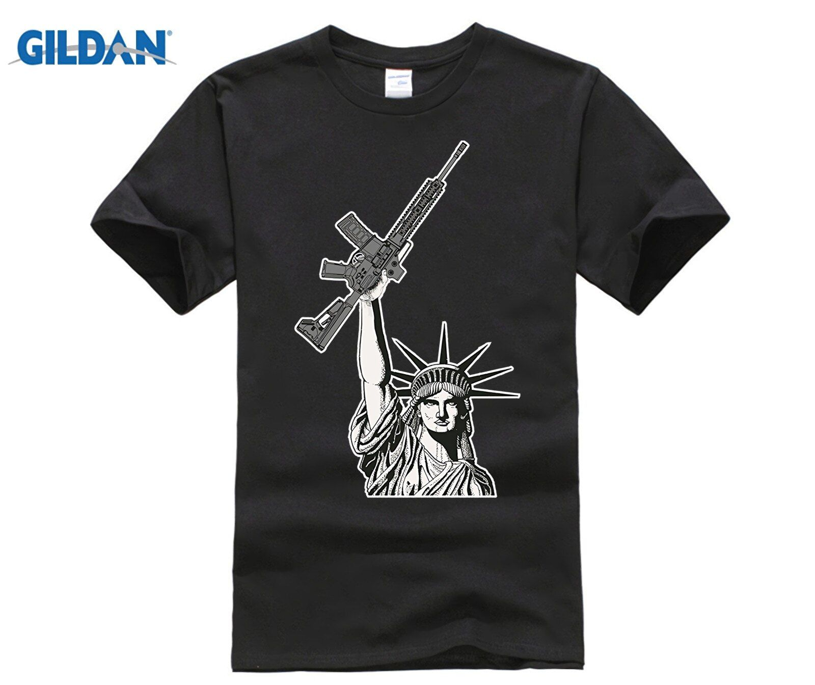 GILDAN 2018 Statue Of Liberty With Gun T Shirt Funny Rifle Gun Control