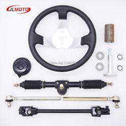 300mm Steering wheel 420mm Gear Rack Pinion 380mm U Joint Tie Rod Knuckle Assy Fit For China 110cc Go Kart Buggy UTV Bike Parts