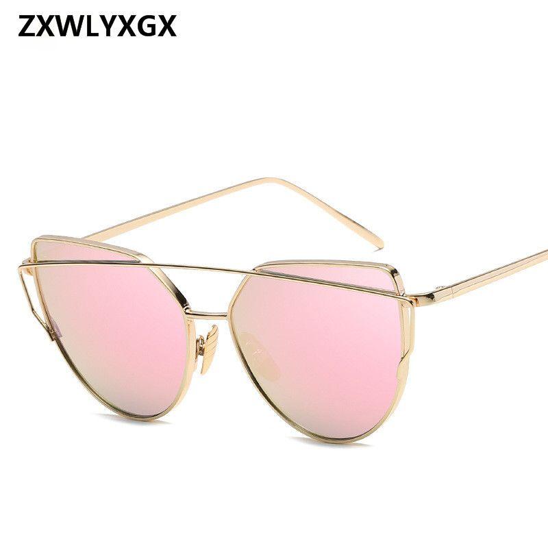 ZXWLYXGX Sunglasses Women Brand Designer CatEye Sun Glasses Lady Mirror Sun Gasses Men Glasses Female Vintage GlassesUV400