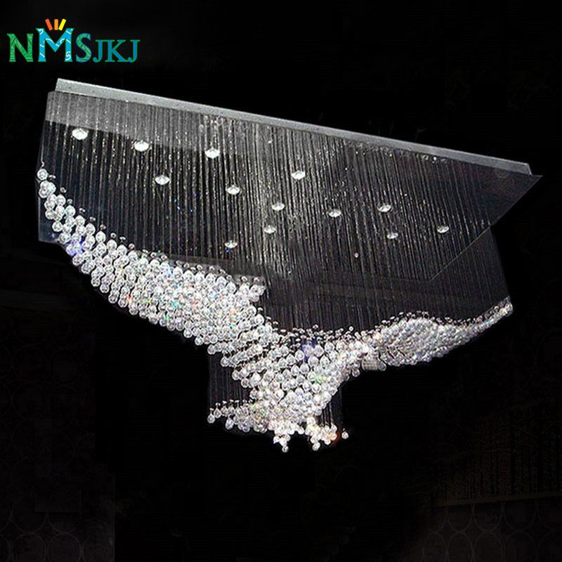 New Eagles Design Luxury Modern Crystal Chandelier Lighting Lustre Hall LED Lights Cristal Lamp L100*W55*H80cm 110v-220v