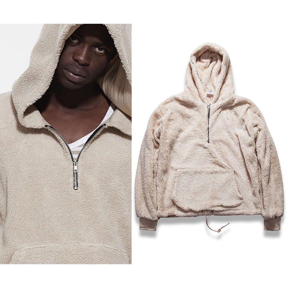 Sherpa Mens Hoodies 2018 Hip Hop With Half Zipper Winter Kanye West Hoodie Men Long Sleeve Hoodies Sweatshirt Men Casual