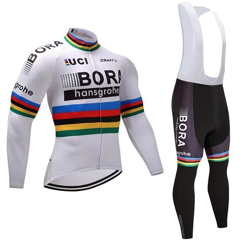 pro tour team 2017 white champion winter fleece cycling jersey warmer bike clothing MTB Ropa Ciclismo Bicycle maillot jacket set