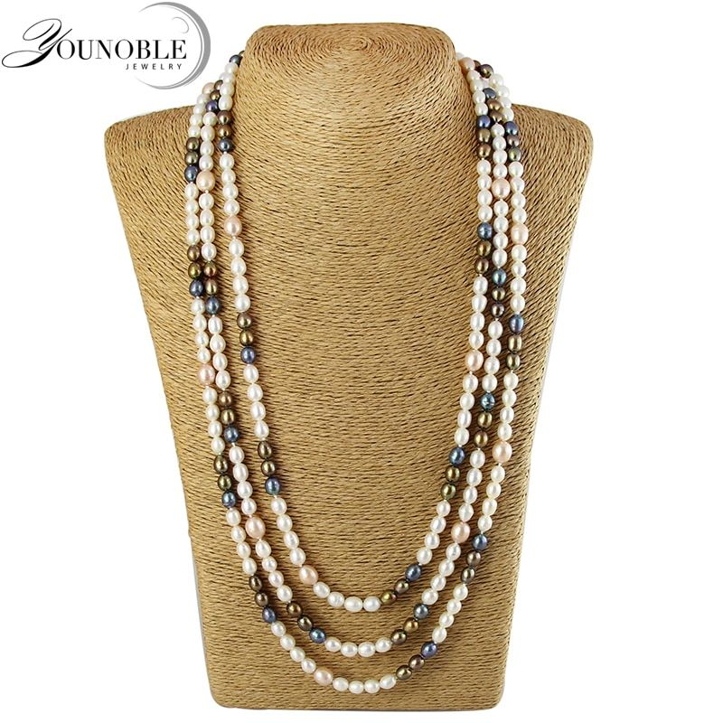YouNoble freshwater long pearl necklace women,real natural pearl necklace wedding jewelry best gift girl colorful anniversary