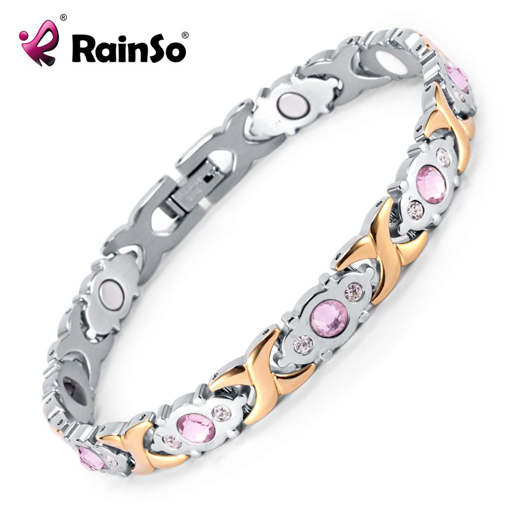 2017 Rainso Crystal Gem Woman Bracelet Stainless <font><b>Steel</b></font> Health Energy Magnetic Gold Fashion Jewelry Lady Bracelets Gift for Girls