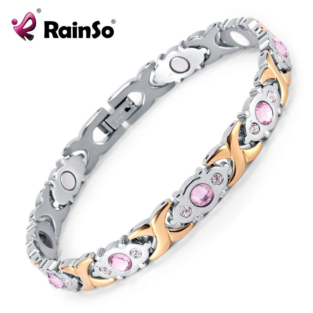Rainso Crystal Gem Woman Bracelet Stainless Steel Health Energy <font><b>Magnetic</b></font> Gold Fashion Jewelry Lady Bracelets Gift for Girls
