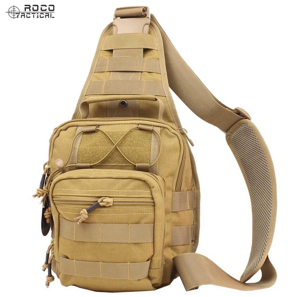 ROCOTACTICAL Tactical Crossbody Sling Bag Premium EDC Tactical Sling Pack 1000D Nylon for Hiking Camping CP Multicam/TAN/Black