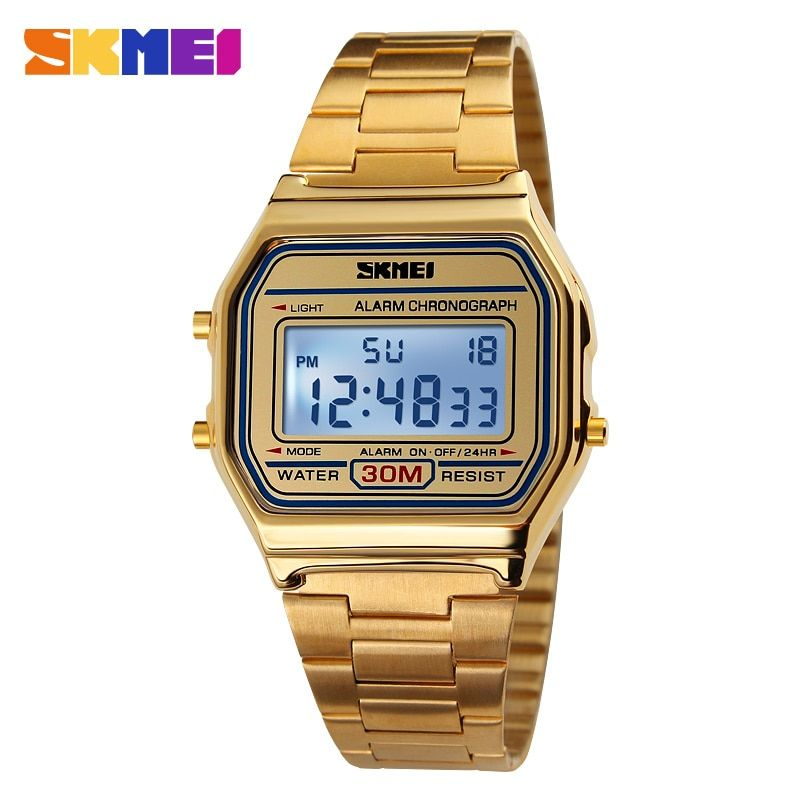 2017 New Men Sport Watch For Men Women Brand Electronic Led Digital Watch Fashion <font><b>gold</b></font> silver Couple Watches Relogio Masculino
