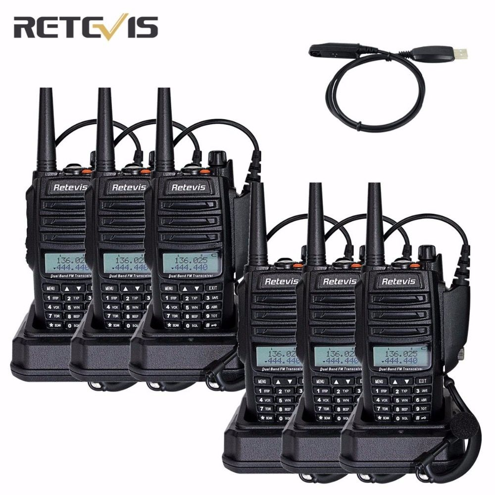 6 pcs Retevis RT6 Talkie Walkie IP67 Étanche 5/3/1 W VHF UHF 136-174/400-520 Mhz Fréquence Portable Handy Radio-Un Câble A9114A