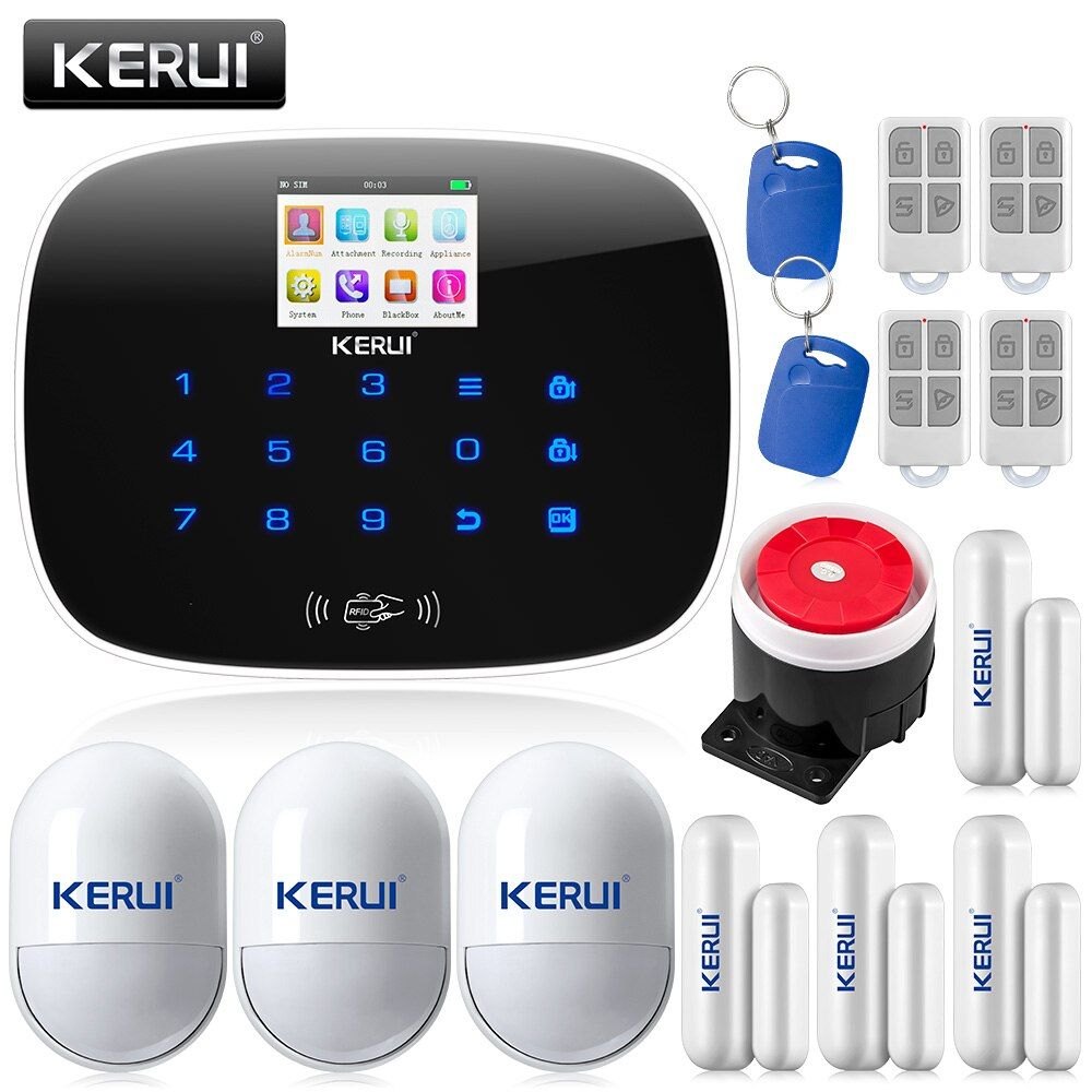 KERUI G19 TFT Large Screen Display GSM Wireless Home Security Alarm System with RFID Tags Intelligent Switch Control