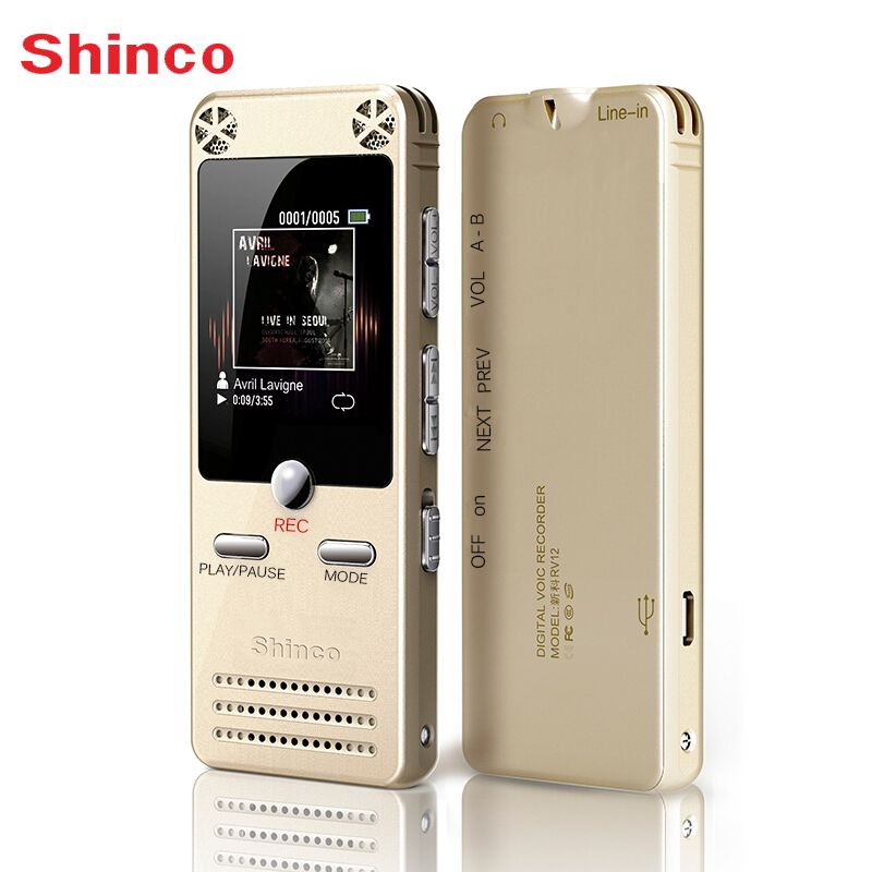 Voice Recorder Shinco RV12 16GB Digital <font><b>Sound</b></font> Recording Device with LCD Display USB Support MP3 Player Dictaphone Pen Recorder