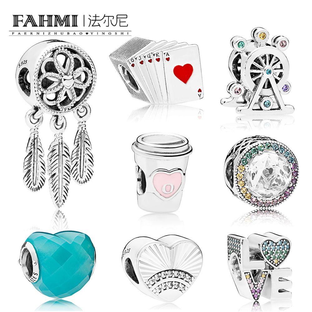 FAHMI 100% 925 Sterling Silber 1:1 Charme Perlen Multi-Farbe Radiant Herzen BLAU FORM DER LIEBE TRINKEN ZU GEHEN REGENBOGEN Spielkarten