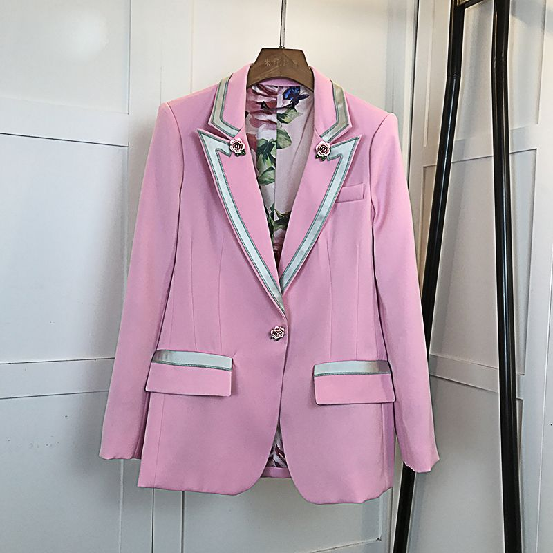 HIGH QUALITY New Fashion 2018 Star Style Blazer Women's Single Button Floral Liner Rose Blazer Outer Coat Pink