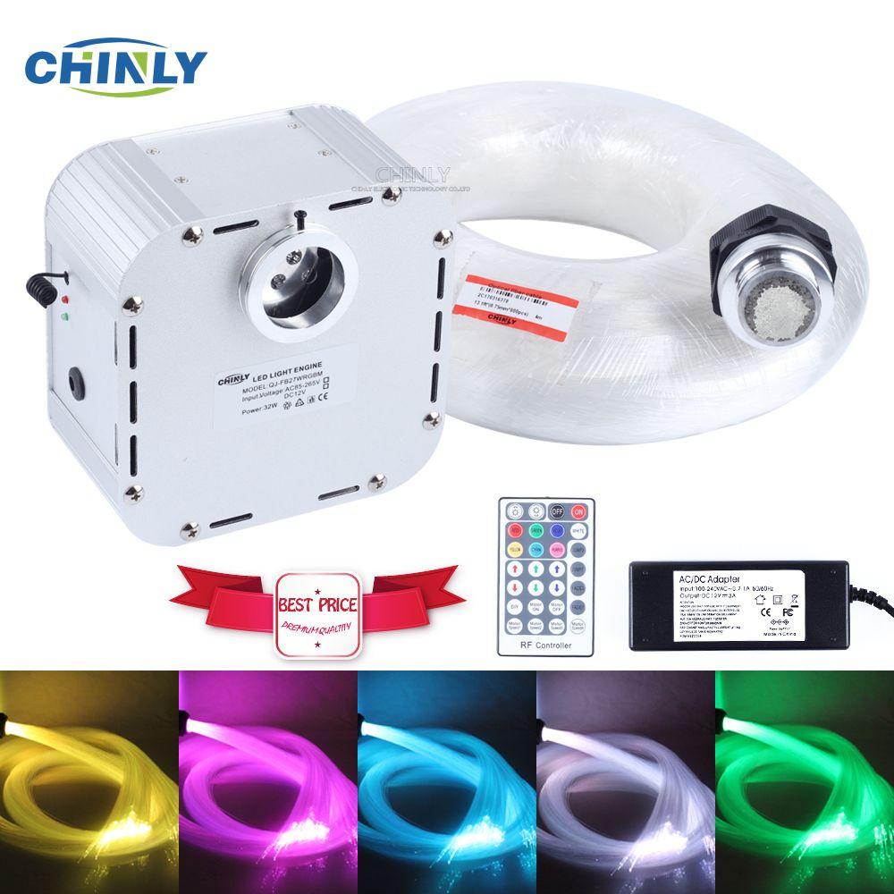 New 32W RGB 4 level-speed Twinkle LED Fiber Optic Light kit 600pcs 4m 0.75mm +28key RF remote