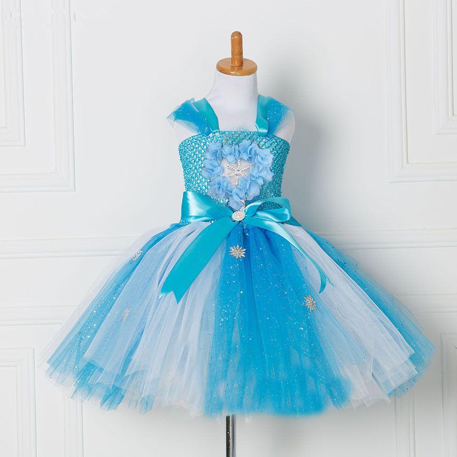 Tulle Tutu robe princesse Anna Elsa robe reine des neiges Halloween fête Vestidos Cosplay Costume fille robe d'été filles vêtements