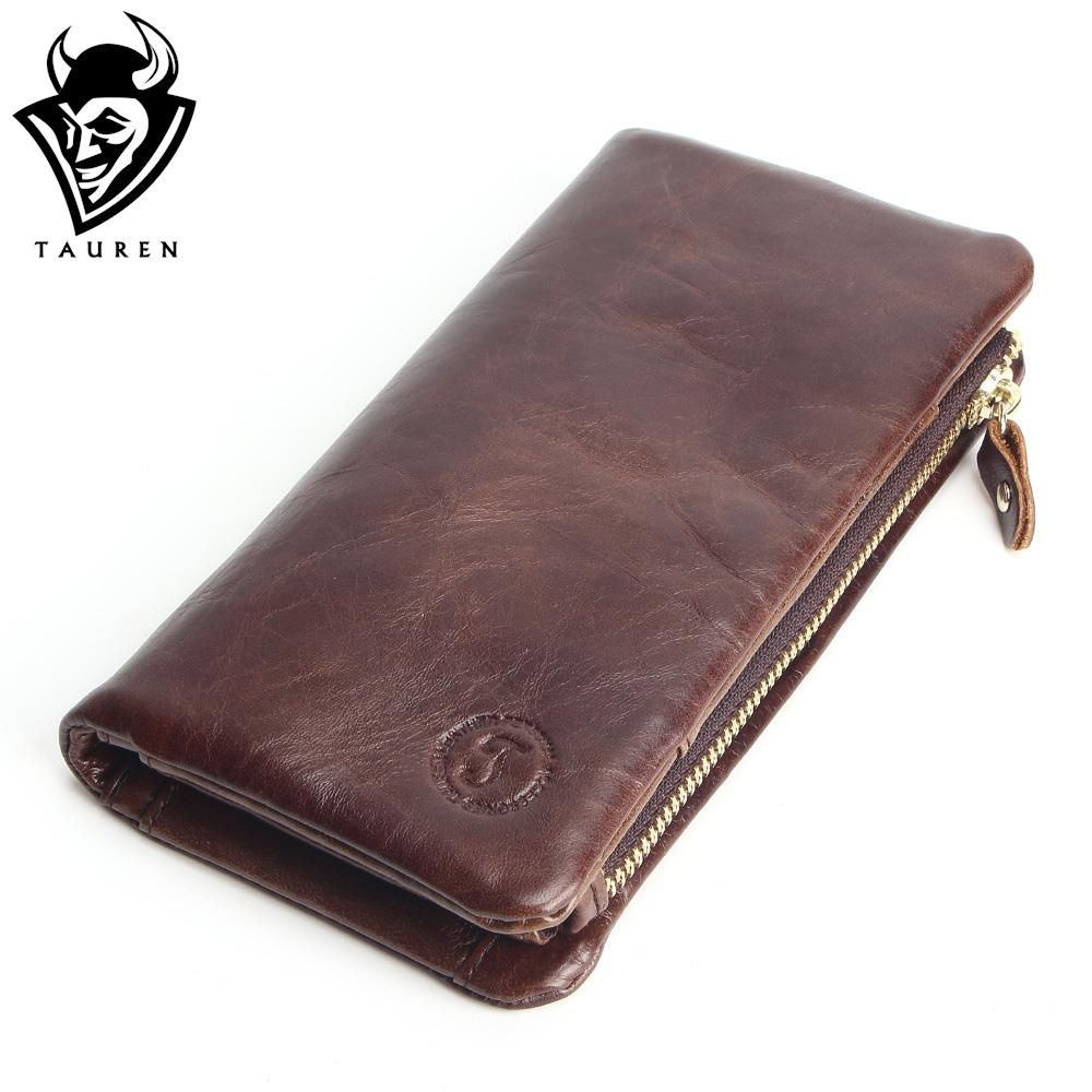 2018 New Luxury Vintage Retro 100% Genuine Oil Wax Leather Cowhide Men Long Wallet Wallets Coin Purse Clutch With Zipper For Men