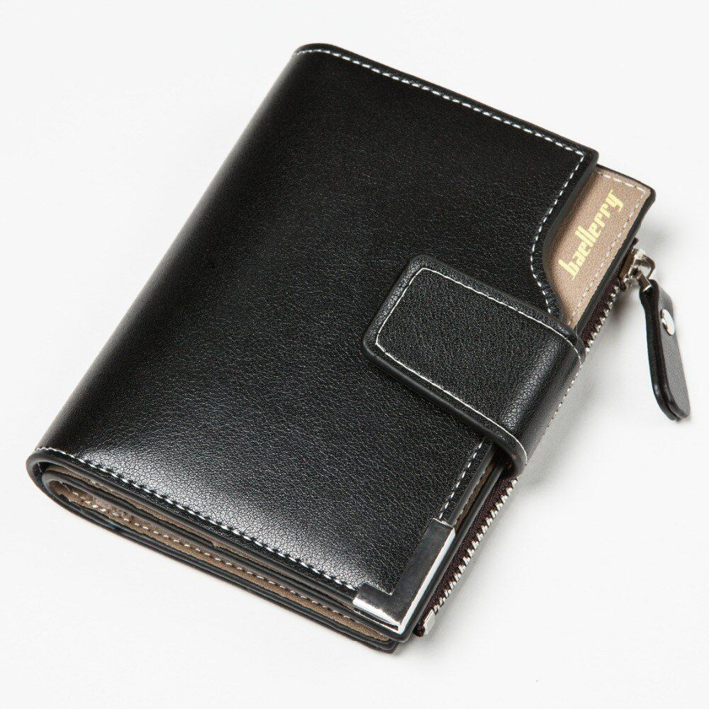 Baellerry Newest Blue! Short Men Wallets PU+Genuine Leather Wallet Men Clutch Bag Coin Purse Card Holder Zipper Hasp Male Wallet