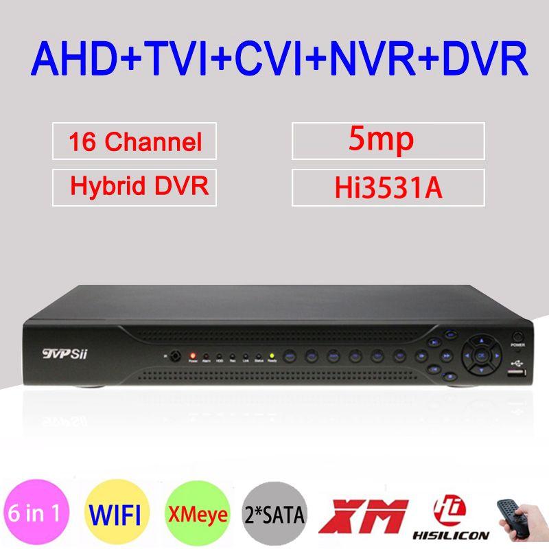 Hi3531A 5MP 16CH 16 Channel 2*SATA WIFI Coaxial Hybrid 6 in 1 NVR TVI CVI AHD CCTV DVR Surveillance Video Recorder Free Shipping
