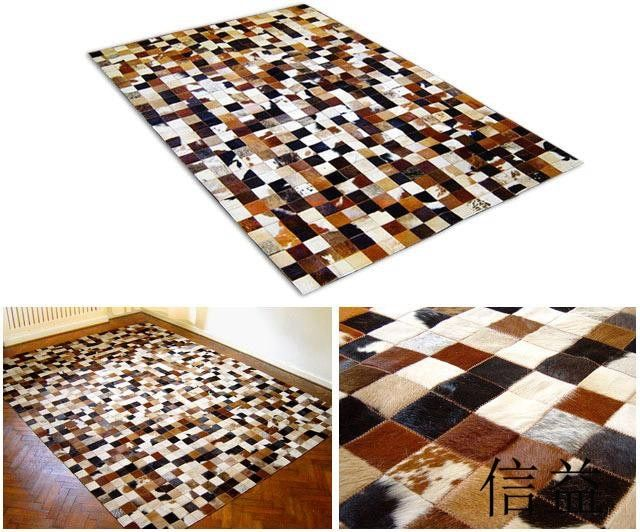 free shipping 1 piece via DHL 100% natural genuine cowhide leather patchwork carpet