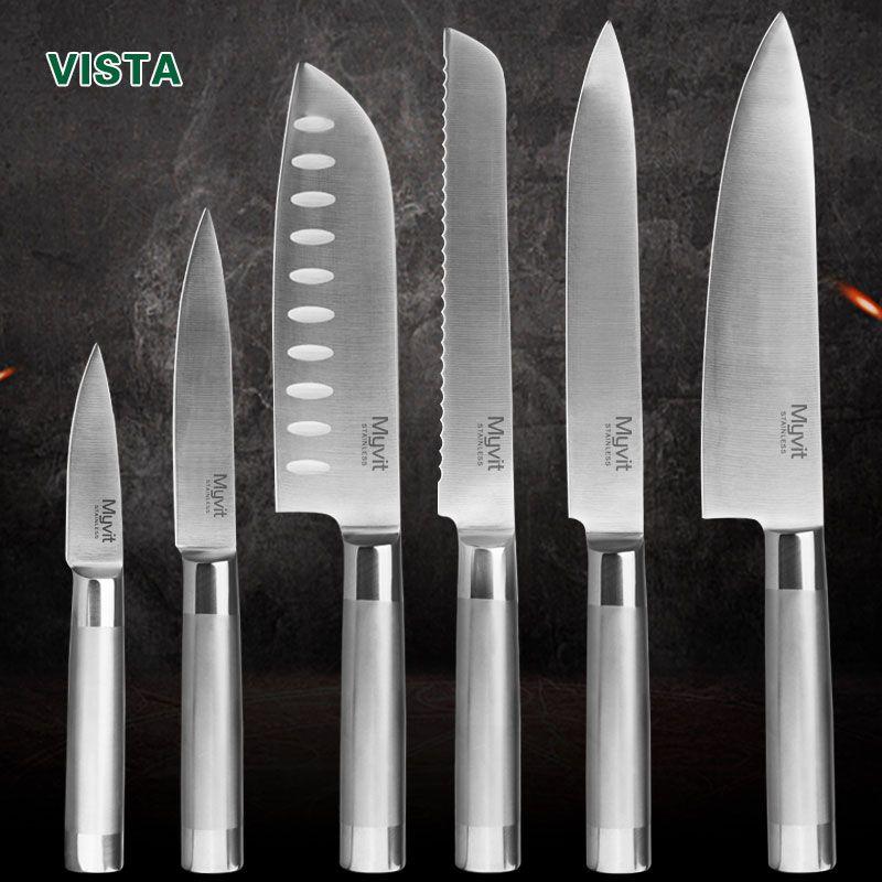 Couteaux de cuisine couteaux de Chef japonais 7CR17 440C haute teneur en carbone en acier inoxydable fruits utilitaire Santoku Chef tranchage couteau à pain