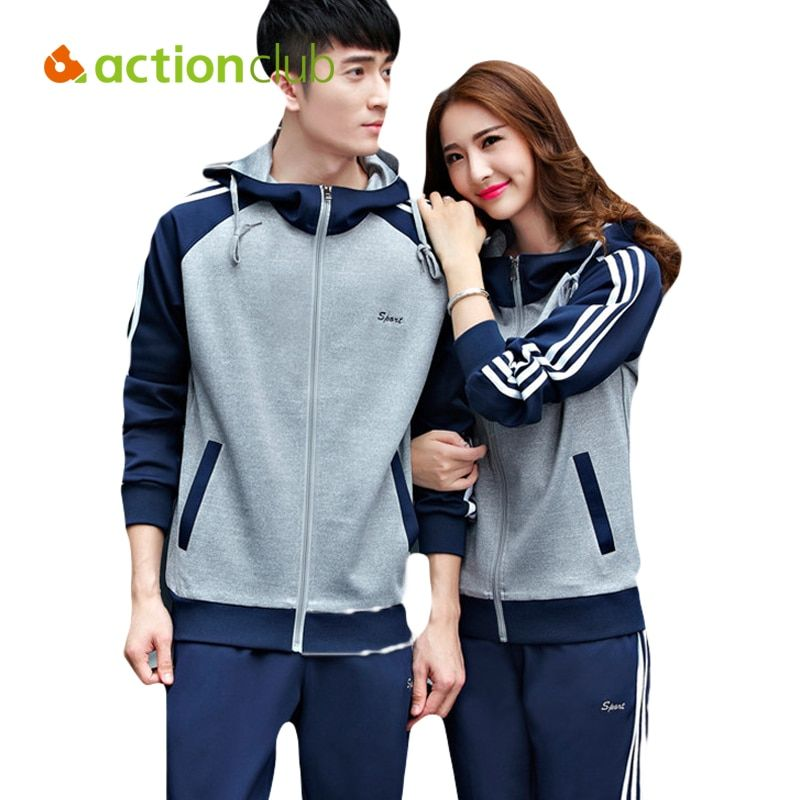 Actionclub Women Men Sport Suit Fitness Outdoor Sports Wear Autumn Long Sleeve Hoodies+Pants Running Sets For Women SR286