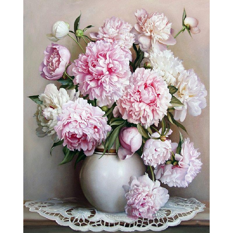 Sans cadre Europe rose blanc fleur peinture à la main par numéros Unique cadeau acrylique peinture par numéros peint à la main mur Art photo