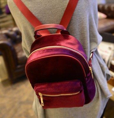 Fashion Rucksack Backpack Black Grey Purple Gold Velvet Small Fashion Women Shoulder Bag Girl's Classic Style School Backpacks