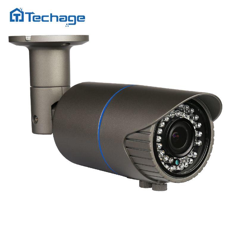 Techage Im Freien Wasserdichte 1080 P 2.0MP CCTV POE IP Kamera 2,8-12mm Vario Zoomobjektiv ONVIF P2P E-mail alarm IR Überwachungskamera