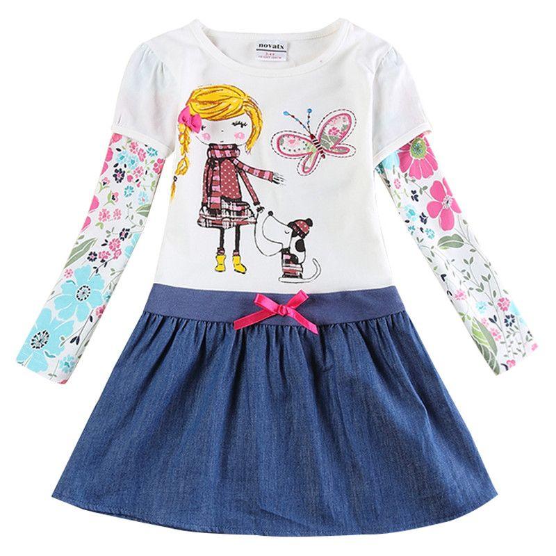 Novatx/Одежда для маленьких девочек с цветочной вышивкой Рождественский подарок для детей платья для девочек в горошек Детские платья vestidos H5795