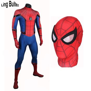 Ling Bultez High Quality Spiderman Homecoming Cosplay Costume 2017 Tom Holland Spider Man Suit 2017 Homecoming Spiderman Costume