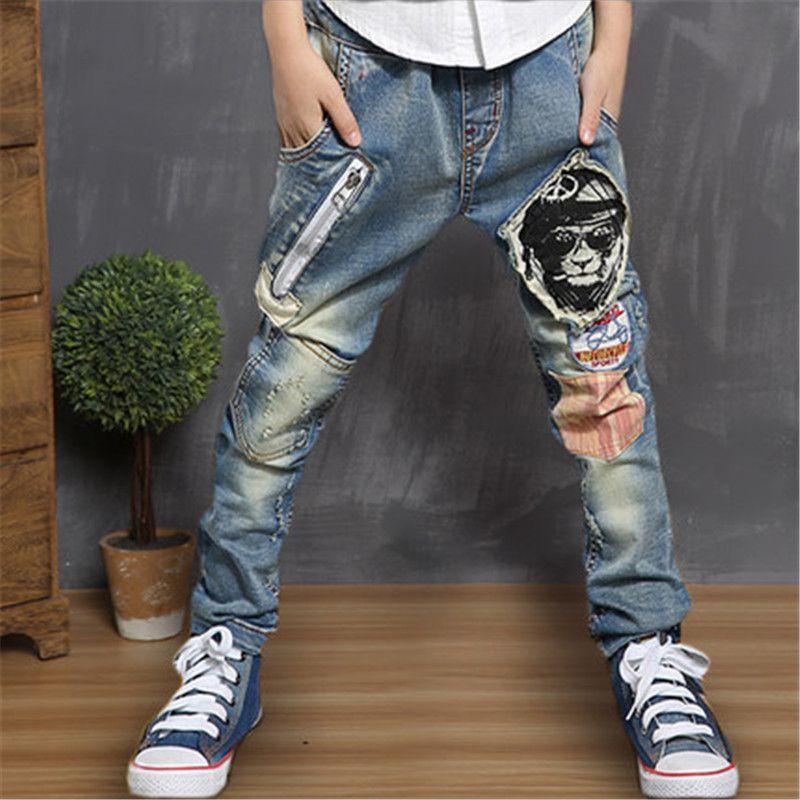 MTCB Chinesischen Inlands Original Casual Teenager Jeans Jungen Lange Hosen Einzigartige Design Bär Kopf Kinder Bleistift Patch Hosen Baby Jean