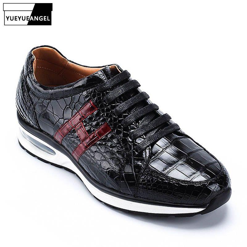 Luxus Alligator Leder Herren Jogger Turnschuhe Marke Top Qualität Krokodil Echtem Leder Schuhe Tenis Masculino Trainer Schuhe